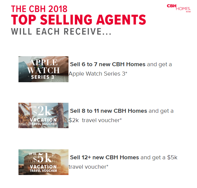 CBH Homes - Top Selling Agent - Apple Watch, $2k Vacation, $5k Vacation