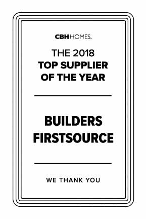 Builders Firstsource - Top Supplier of the Year - CBH Homes