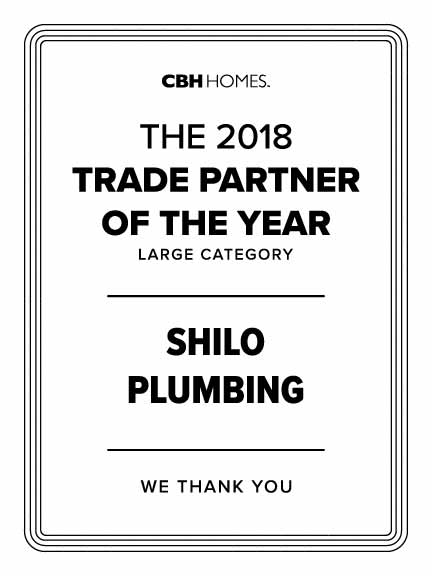 Shilo Plumbing Trade Partners of the Year 2018 - CBH Homes