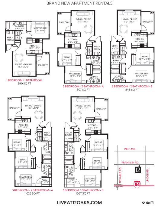 12 Oaks at Ten Mile Floor Plans